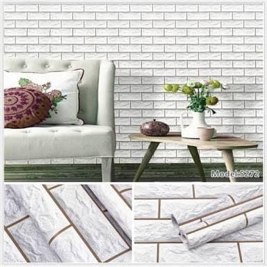 Jual Walpaper Sticker Dinding Murah Batu Bata Putih 3D 10