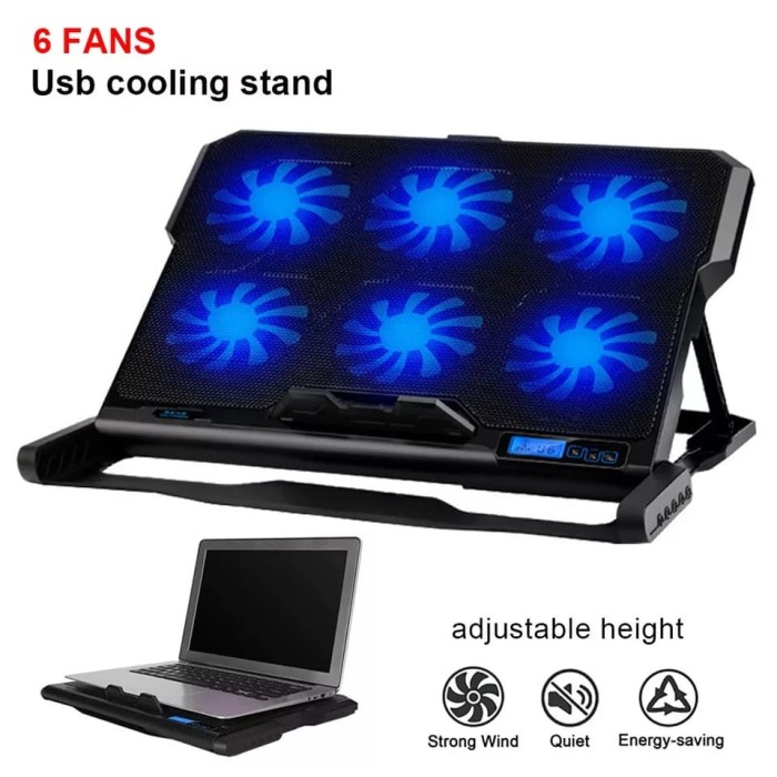 Foto Produk ICE COOREL Cooling Pad Laptop 6 Fan - K6 - Blowe/ Kipas Angin laptop dari rubic wear