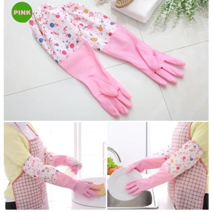Foto Produk Sarung Tangan Cuci Piring Baju / Sarung Tangan Panjang Bahan Karet 007 - Merah Muda dari juragan kado