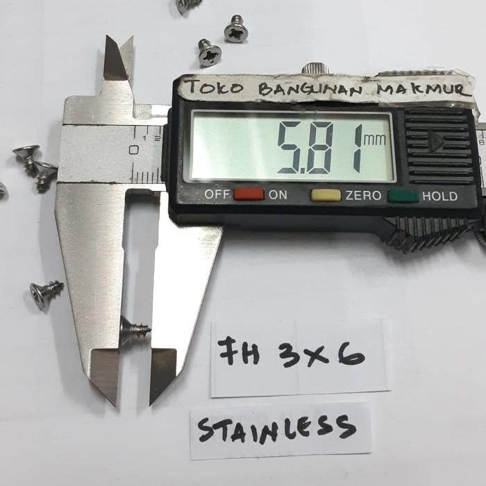 Foto Produk Sekrup 6mm Stainles FH 3x6 mm 50pcs dari toko Bangunan Makmur