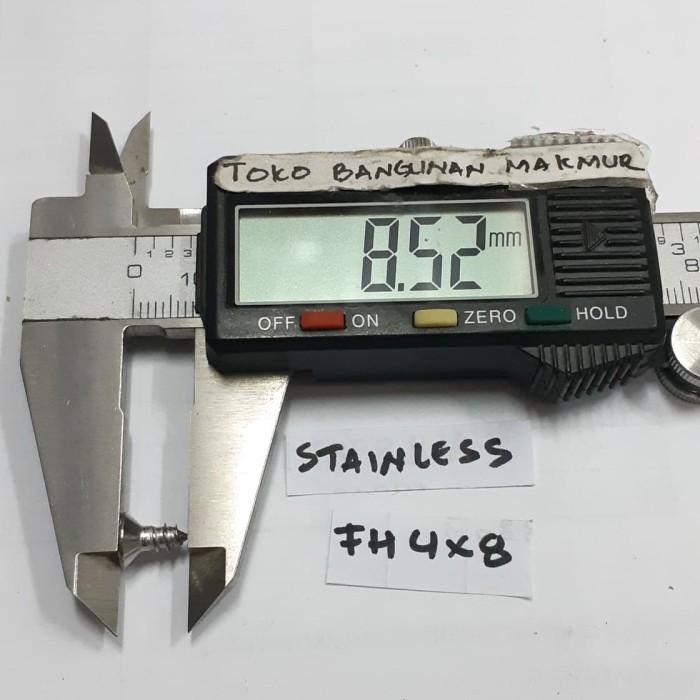 Foto Produk Skrup 8mm Stainles FH 4x8 mm 100pcs dari toko Bangunan Makmur
