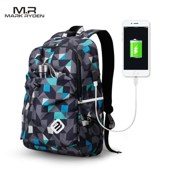 Foto Produk MARK RYDEN MR6008 ORIGINAL Tas Ransel Tas Sekolah USB Port - Blue Cube dari Warehousegadget28