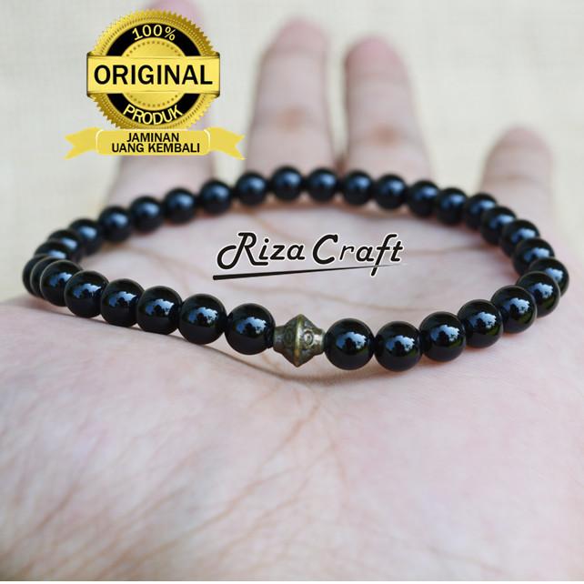 Foto Produk Gelang Tasbih Batu Akik Black Onyx Hitam Asli Alam Natural 33 Butir dari Riza Craft