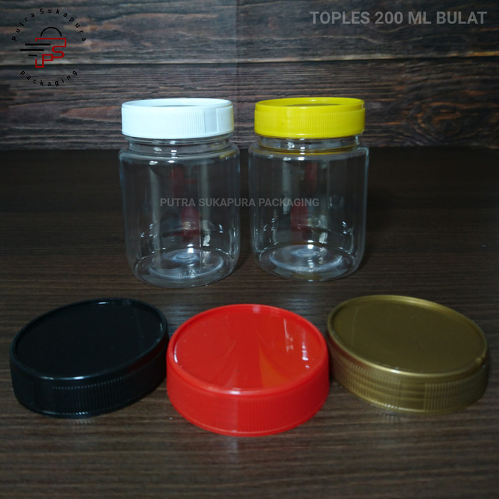 Foto Produk Toples sambal 200 ml bulat f6 toples plastik pet toples jar botol - Hitam dari putra sukapura packaging