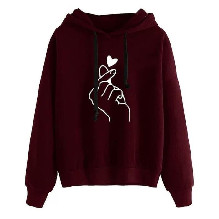 Foto Produk Sweater Hodie Wanita Fleece Sarangheyo / Jaket Wanita Jumbo - Hitam dari Butik Hijab Humaira