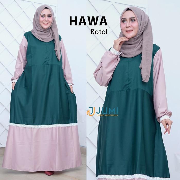Foto Produk Gamis dress jumbo big size HAWA DRESS ld 120 130 140 4XL 5XL 6XL busui - Hijau, 4XL dari natawabusana