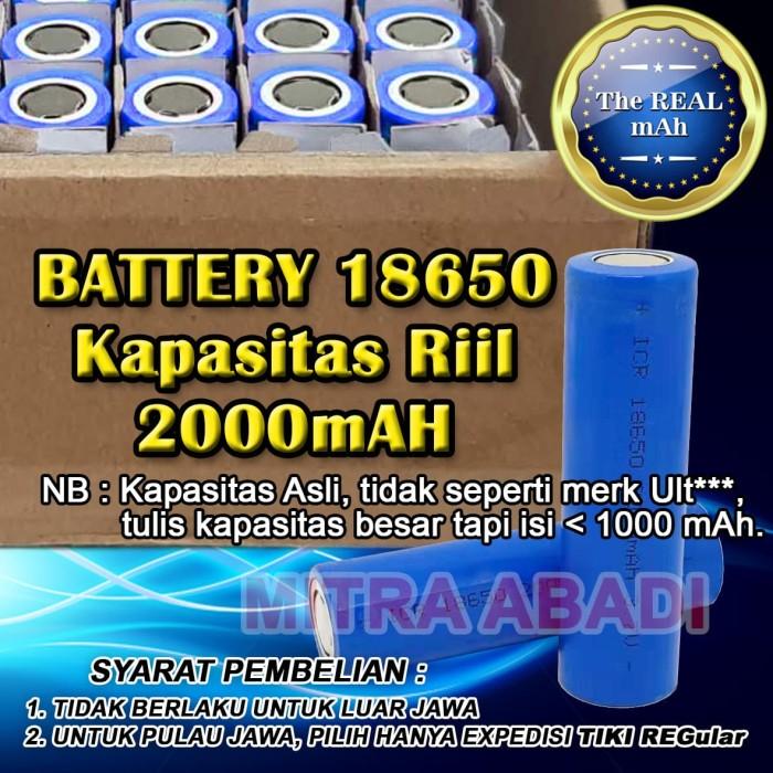 Foto Produk Baterai/Baterai/Battery 18650 Kapasitas Riil 2000 mAh dari Toko Mitra Abadi