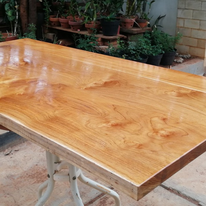 Jual Top Table Papan Kayu Jati Asli Perhutani Prefinished 120x60x3