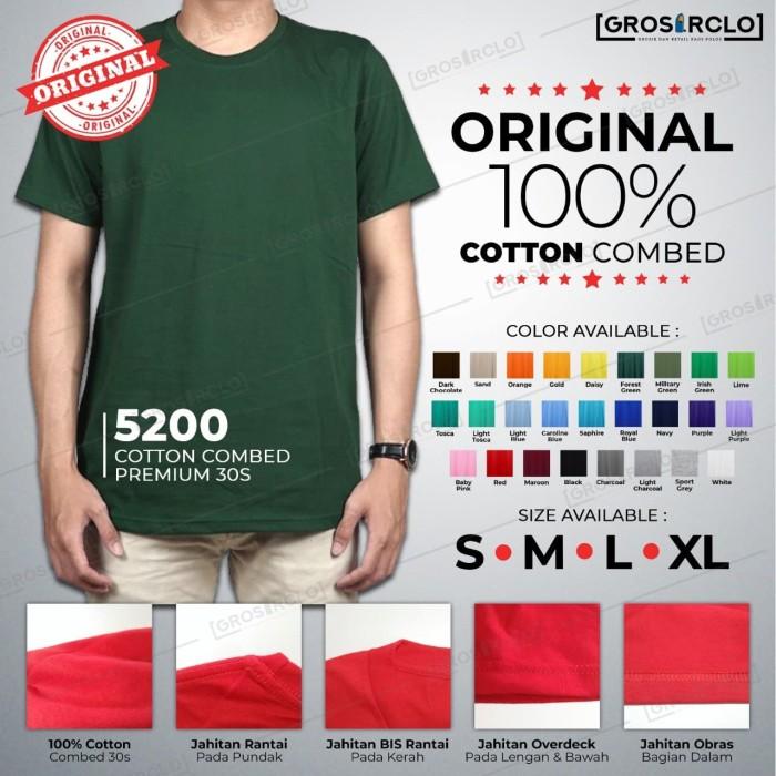 Foto Produk Baju Kaos Polos katun kombed 30 s Wincloth 5200 Oneck Murah S M L XL dari Grosir clo