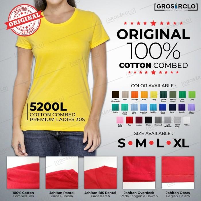 Foto Produk Baju Kaos Polos Katun Combed 30 s Wincloth 5200L Ladies Oneck S M L XL dari Grosir clo