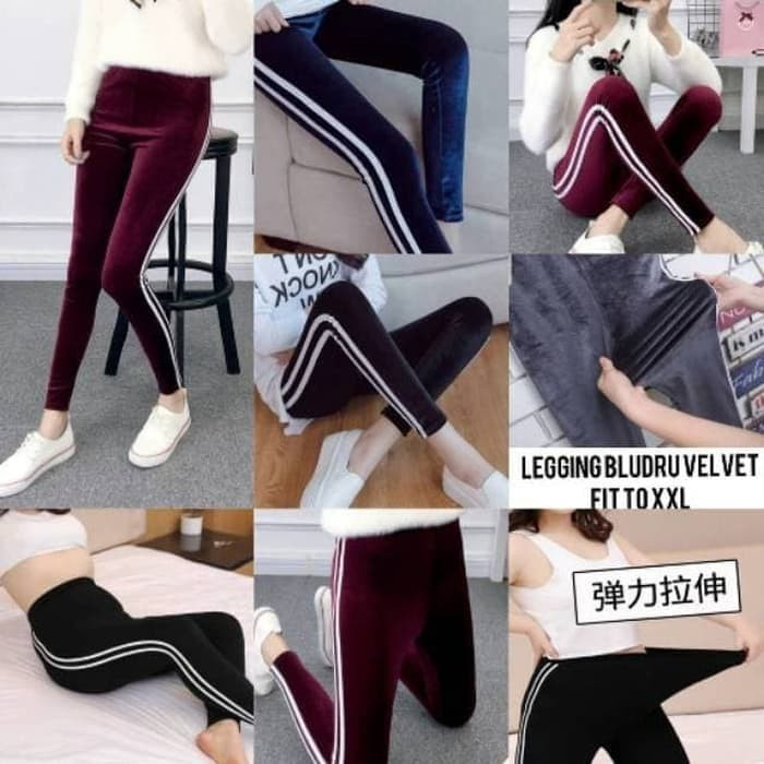 Jual Legging List 2 Bahan Bludru Velvet Import Muat Dari S Xxl 70kg Maroon Jakarta Pusat Fashionshoppie Tokopedia
