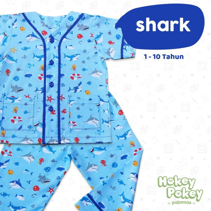 Jual Setelan Baju Tidur Piyama Anak Laki Laki Tanpa Kerah Motif Shark Kota Bandung Hokey Pokey Tokopedia