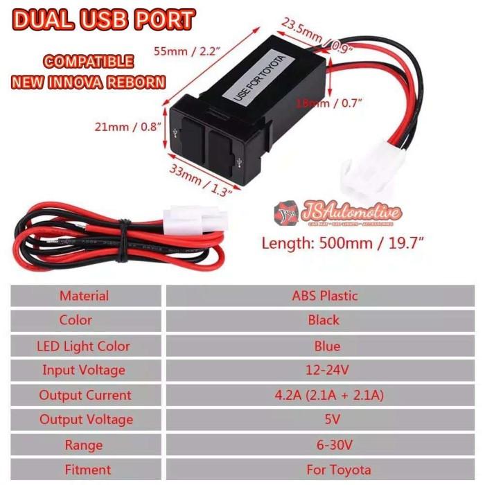 Foto Produk Slot Charger 2 port USB 2.1A Mobil TOYOTA (kompatibel Innova Reborn) dari JSA-RAYmart