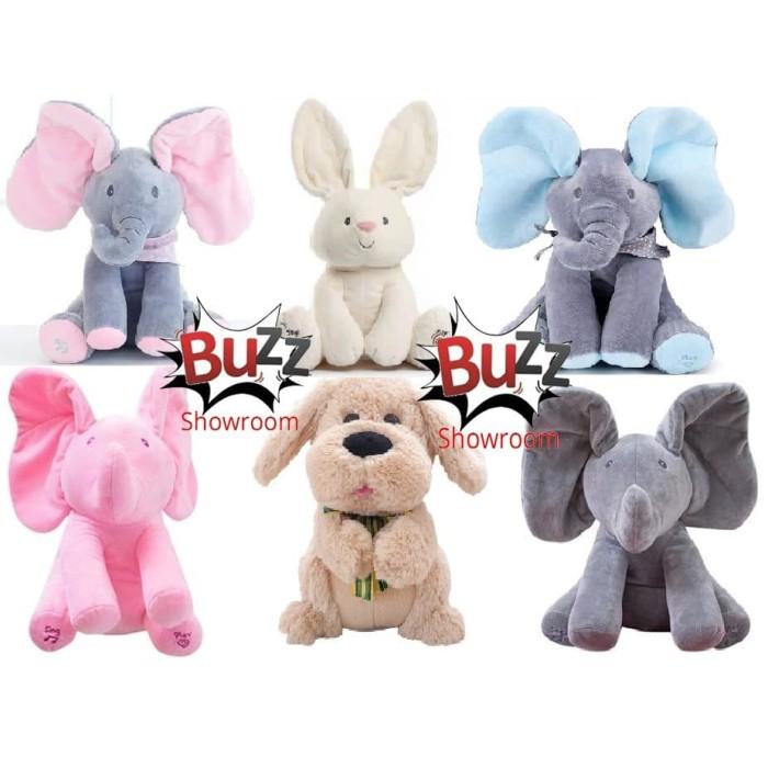 Foto Produk Boneka gajah peek a boo, elephant peek ka boo, cilukba, - Abu Biru dari Mainan Kreatif Anak
