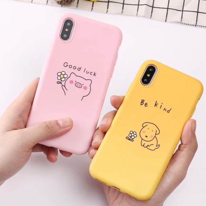 Foto Produk Pig Dog Iphone case 6 6S 6+ 6 plus 7 8 X XR XS MAX lucu cute soft doff - BE KIND KUNING dari Caseayangan ID