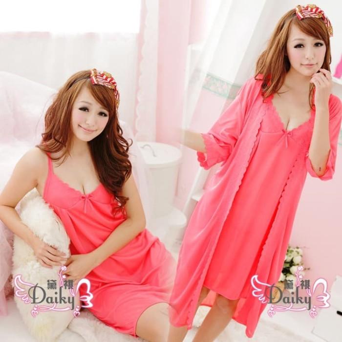 Foto Produk Baju tidur Daster Kimono Seksi piyama 1 set 2 pcs Warna merah dari Belladona Shop