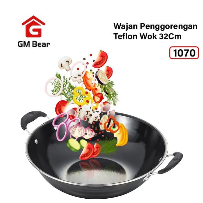Jual Gm Bear Wajan Penggorengan Teflon Wok 32cm 1070 Jakarta