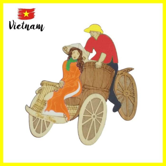 Foto Produk Souvenir Mancanegara Magnet Tempelan Kulkas Vietnam Becak Orange Merah dari Iyesh Online Store