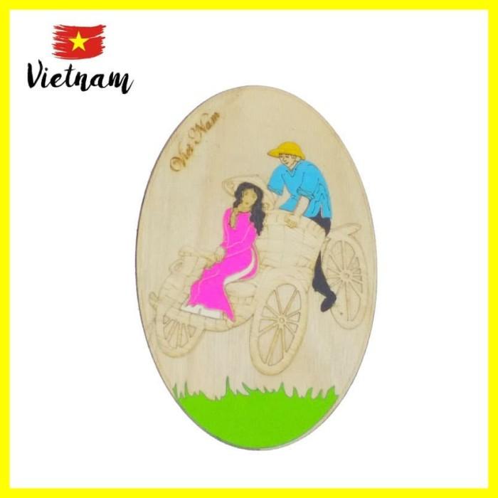 Foto Produk Souvenir Mancanegara Magnet Tempelan Kulkas Vietnam Hanoi Becak Oval dari Iyesh Online Store