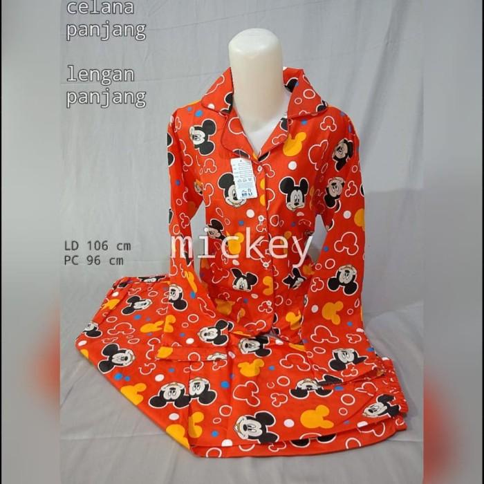 Foto Produk PIYAMA KATUN LENGAN PANJANG MOTIF FLAMINGO - Merah, L fit To XL dari MR Colection Bandung