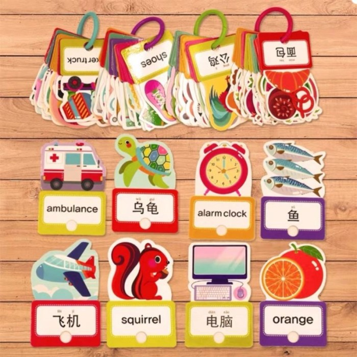 Foto Produk Flash card mandarin english pinyin - colorful flashcard - kartu dari lalinnakiddiestore