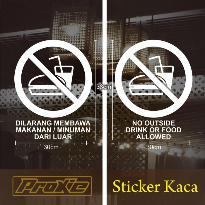 Jual Cutting Sticker Cafe Larangan Membawa Makanan Dari Luar