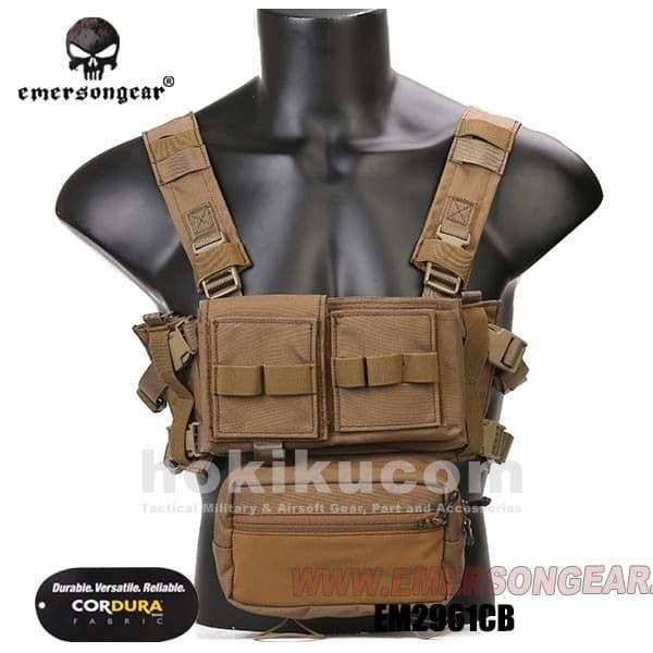 Foto Produk Rompi Airsoft Tactical Vest Emerson Gear Micro Chassis MK3 Chest Rig - Brown Coklat dari Hokikucom