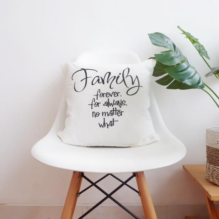 jual quote cushion cover sarung bantal family putih kab