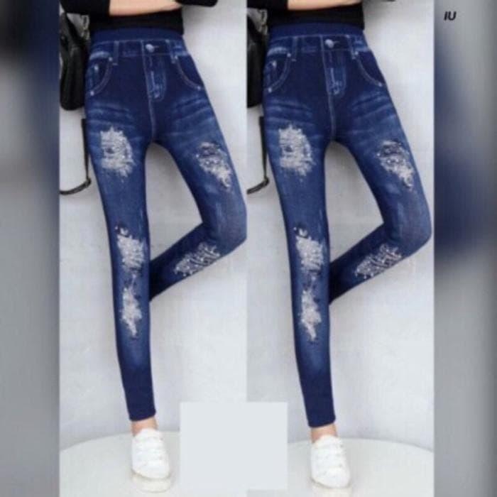Jual Bx31 Legging Jeans Wanita Legging Panjang Motif Sobek Legging Murah Jakarta Pusat Jual Beli Online Bersama Tokopedia