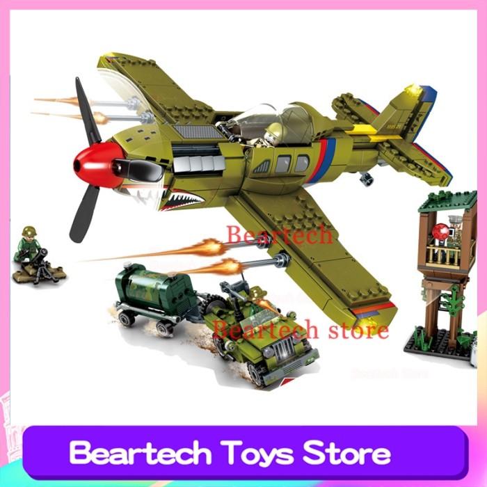 Jual Lego Bentuk Pesawat Tempur Militer Army p 40 WW2 ...