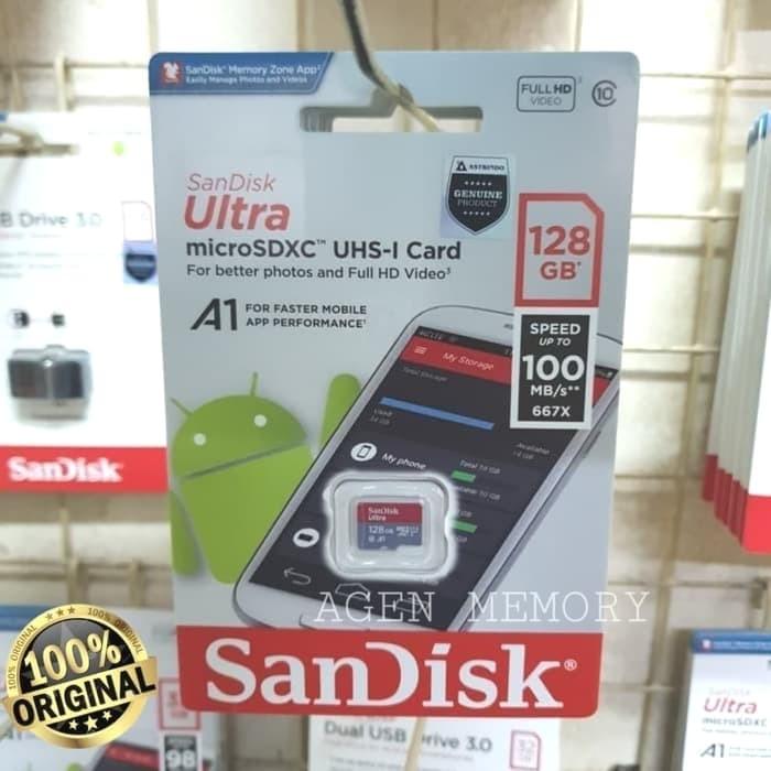 Foto Produk Memory Card MicroSD MIcro SD Sandisk Ultra Class 10 128GB 128 GB A1 dari AGEN  MEMORY