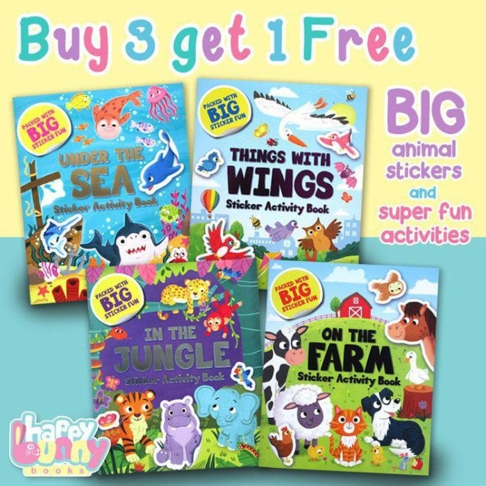 Foto Produk Promo BUY 3 GET 1 FREE Sticker Activity Book packed with BIG Sticker F dari HappyBunnyBooks