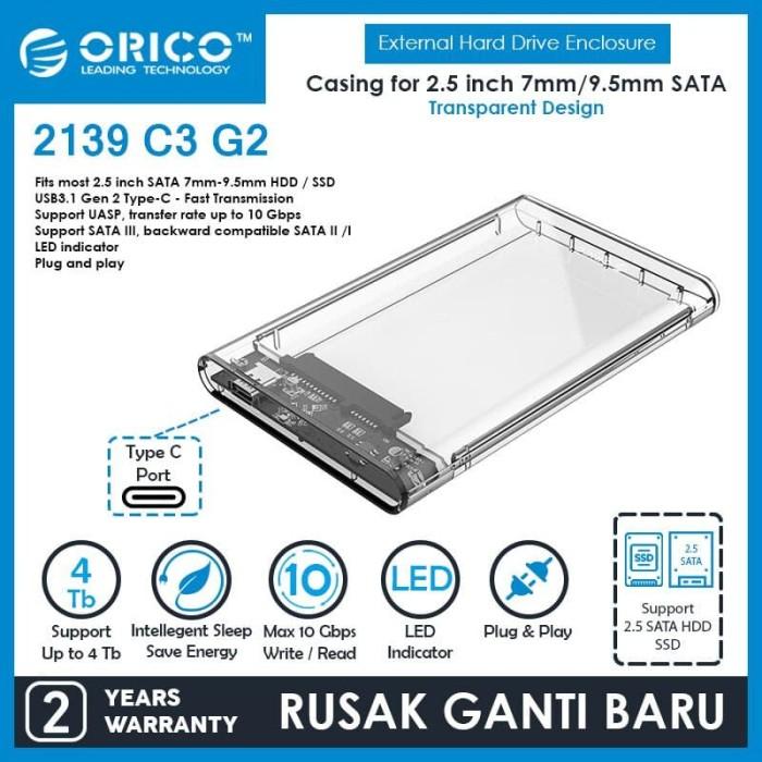 Foto Produk ORICO 2139C3-G2 2.5in Transparent Type-C 3.1 Gen2 HardDrive Enclosure dari ORICO INDONESIA