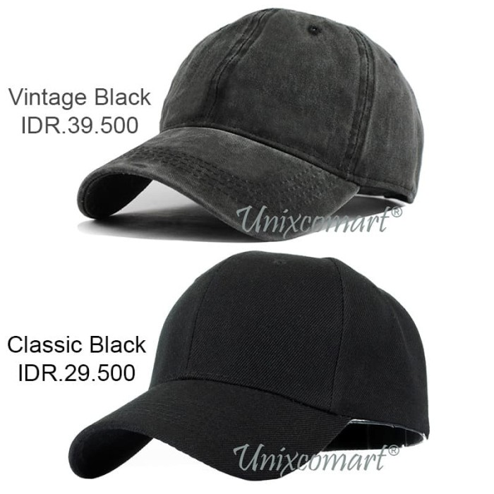 Foto Produk Plain Topi Baseball Hat Cap Casual Sport Distro Polos Pria Wanita - Vintage Black dari Unixcomart