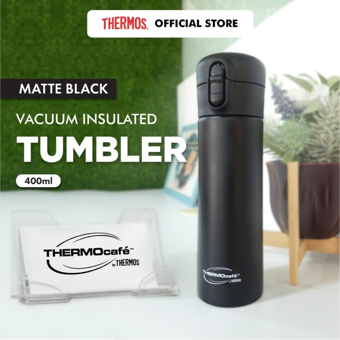 Foto Produk Thermocafe by Thermos Tumbler Stainless Steel - Black 400ml (FY-NK03) dari Thermos Indonesia