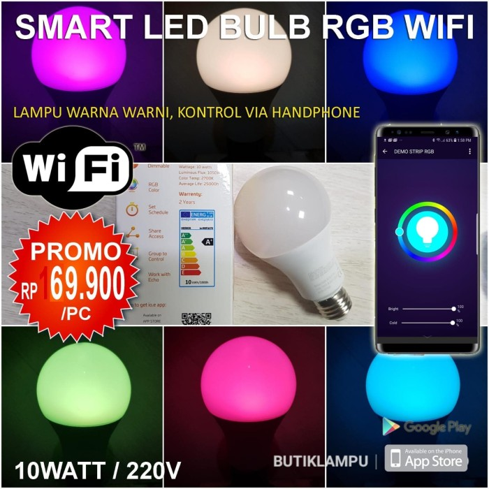 Foto Produk Lampu Smart LED Bulb RGB Wifi Color light Model Philips Hue / Xiaomi dari butiklampu