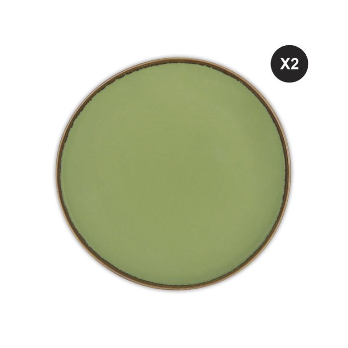 Foto Produk 2pcs ZEN Dinner Plate Rustic Green 28cm dari ZEN Porcelain Tableware