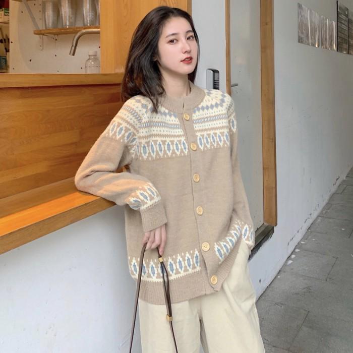 Jual Women Girl Winter Fashion Korean Style Cardigan Lady Vintage Printed F Kab Kuningan Wielshoes Jakarta Tokopedia