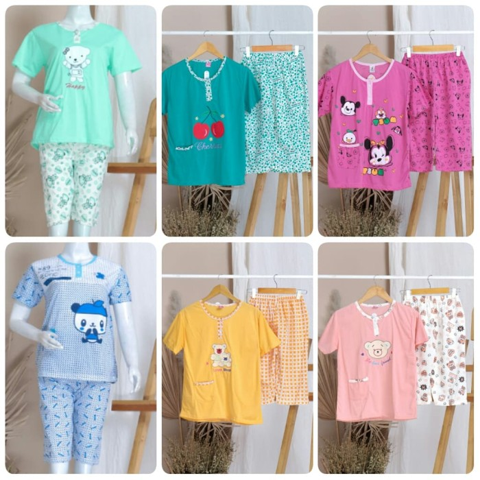 Foto Produk Piyama Baju tidur celana 3/4 Bahan Kaos dari StarSungallery