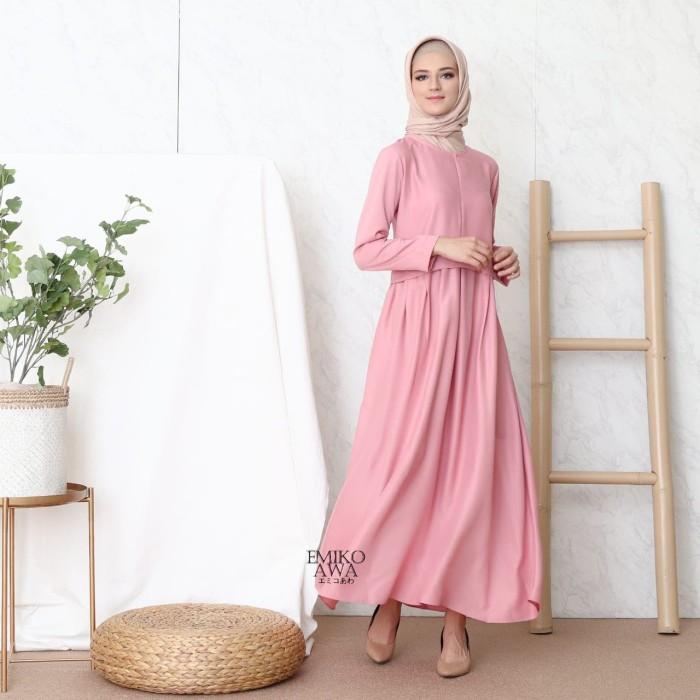 Foto Produk Gamis PLEATED - Emikoawa / Dress / Maxi /BUSUI/ Souvenir / Berkualitas - Merah Muda dari emikoawa