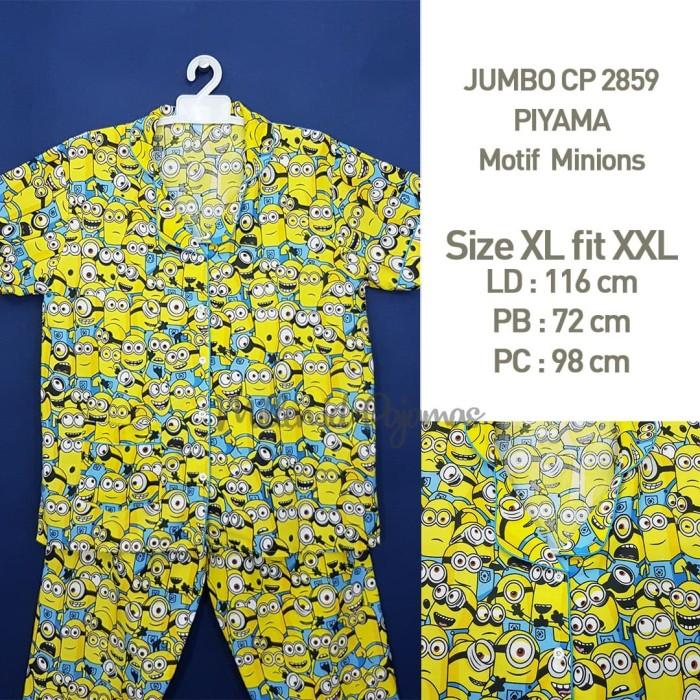 Foto Produk Baju Tidur Size Jumbo XL-XXL Minions Wanita PIYAMA Katun JBCP 2859 dari Millen Collection