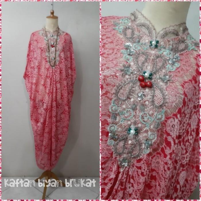 Foto Produk Kaftan Biyan brukat gradasi merah bordir payet original dari Winnie Collection