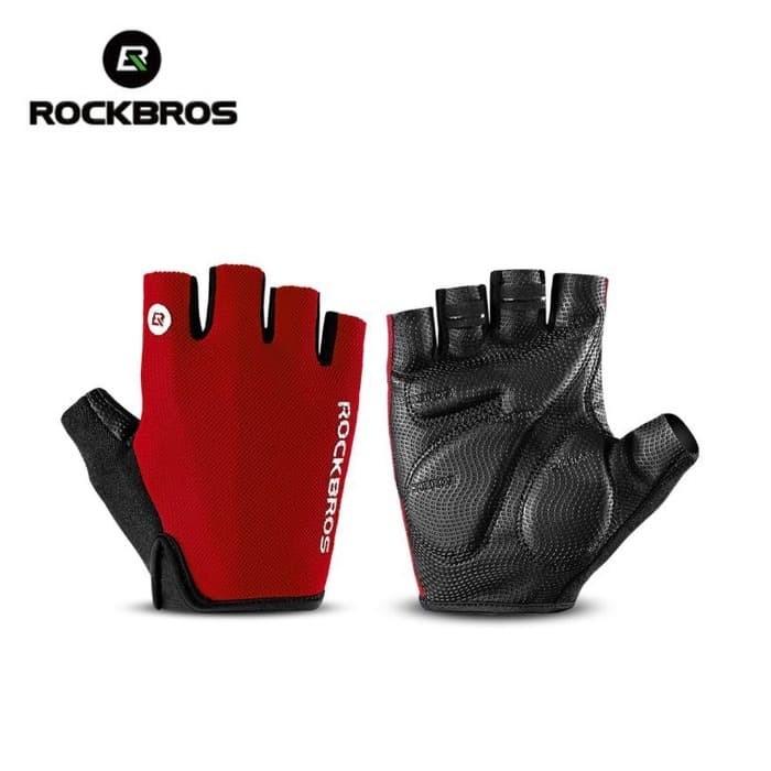 Foto Produk Sarung Tangan Sepeda RockBros Gloves Half Finger Gel Red Original - M dari Rockbros Bike