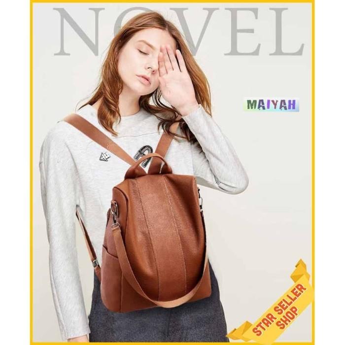 Foto Produk Tas Ransel Wanita Backpack cewek tas punggung perempuan Sekolah kuliah - Hitam dari Spidernet_boyolali