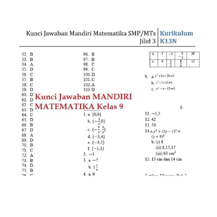 Jual Promo Buku Mandiri Matematika Smp Kelas 9 Ix K13 Soal Jawaban Jakarta Pusat Natalia Wijayanti Tokopedia