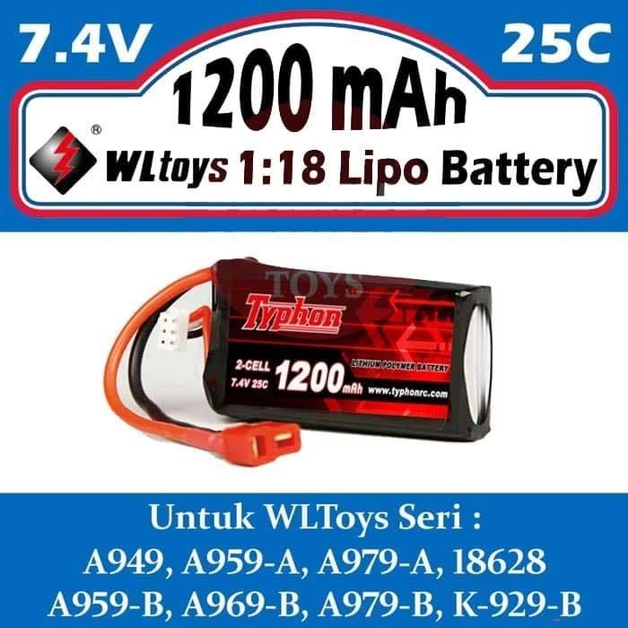 Foto Produk WLToys 7.4V 1200 mah 25C Li-po Battery dari Tamiyatoys