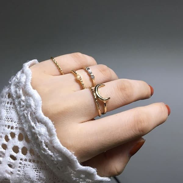 Foto Produk cincin set 5 pcs moon combination five piece ring jci053 dari Oila