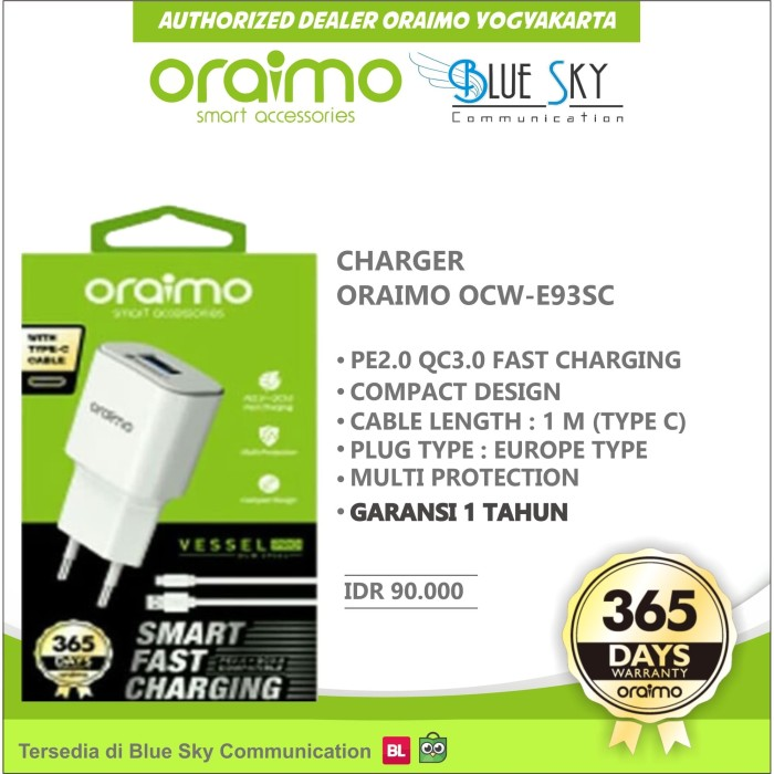 Foto Produk CHARGER TYPE-C ORAIMO OCW-E93SC FAST CHARGING dari Blue Sky Communication