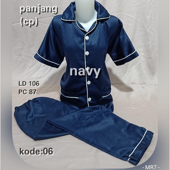 Foto Produk piyama satin / baju tidur / piyama celana panjang - Navy dari MR Colection Bandung