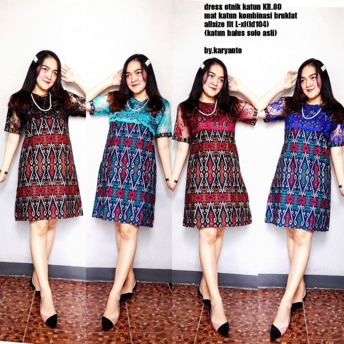 Foto Produk SIMIFASHION dress etnik motif batik Solo ORI mix brokat - Biru, XL dari Simi Fasion Shop